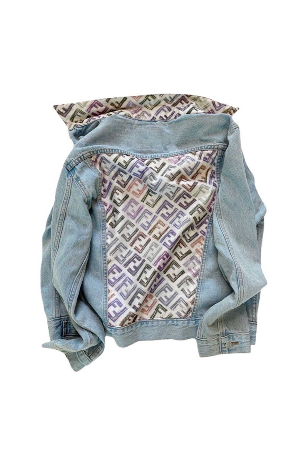 DENIM JACKET WITH FENDI LOGO SCARF - LT BLUE MULTI