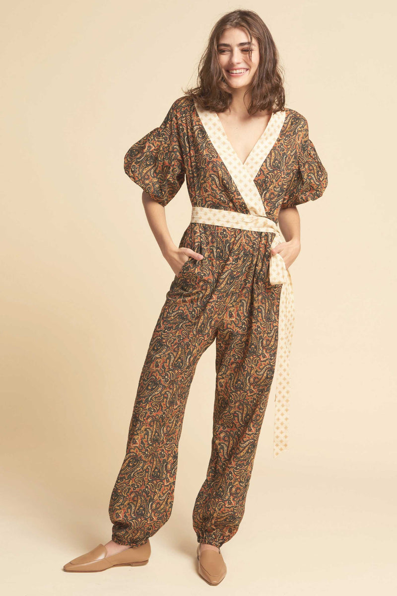FLUTTER JUMPSUIT - RUST MULTI