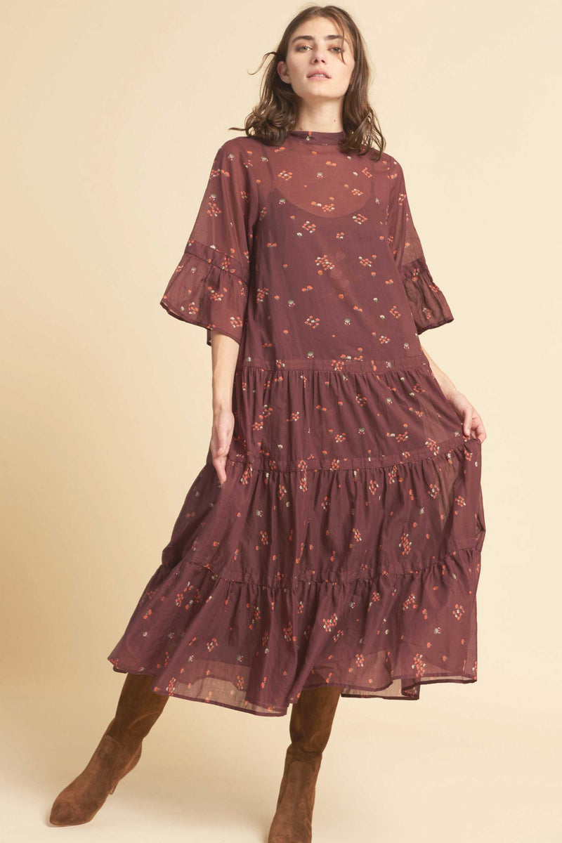 GLASTONBURY DRESS - BURGUNDY