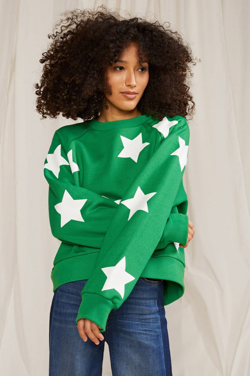 LUCKY STARS FLOCKED SWEATSHIRT in GREEN