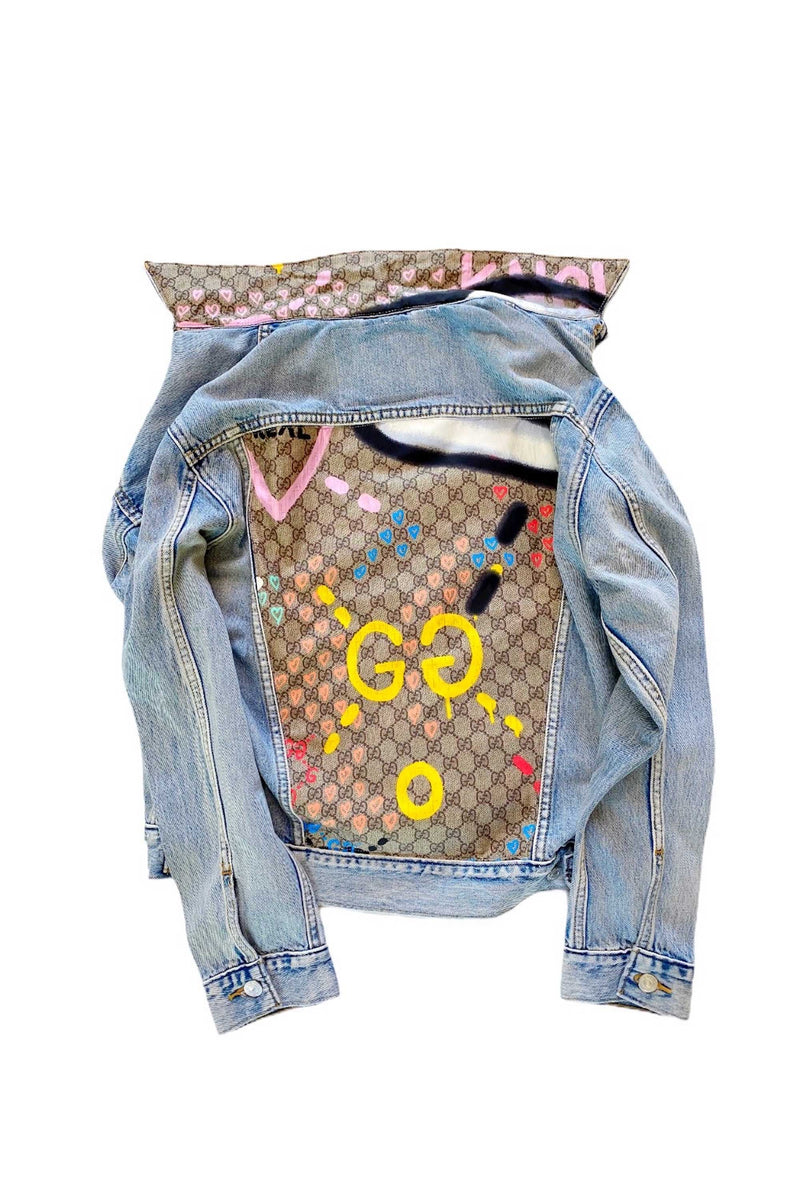 DENIM JACKET WITH GUCCI GHOST GRAFFITI SCARF - BLUE MULTI