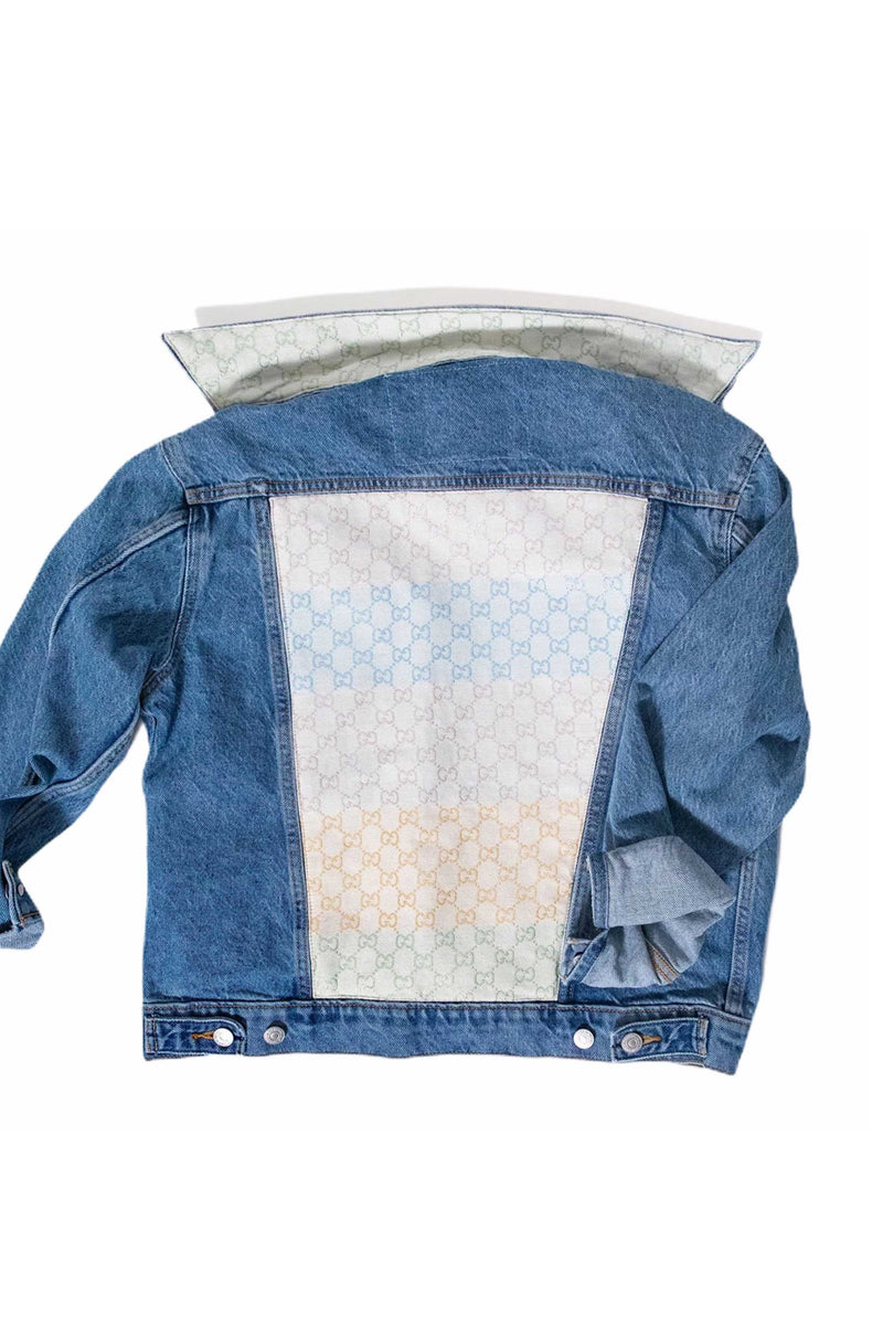 DENIM JACKET WITH GUCCI LOGO SCARF - BLUE MULTI
