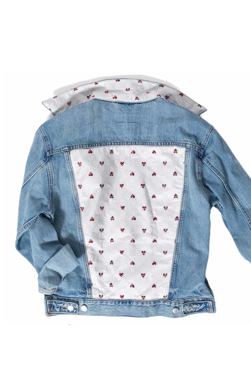 DENIM JACKET WITH GUCCI HEART SCARF - BLUE MULTI