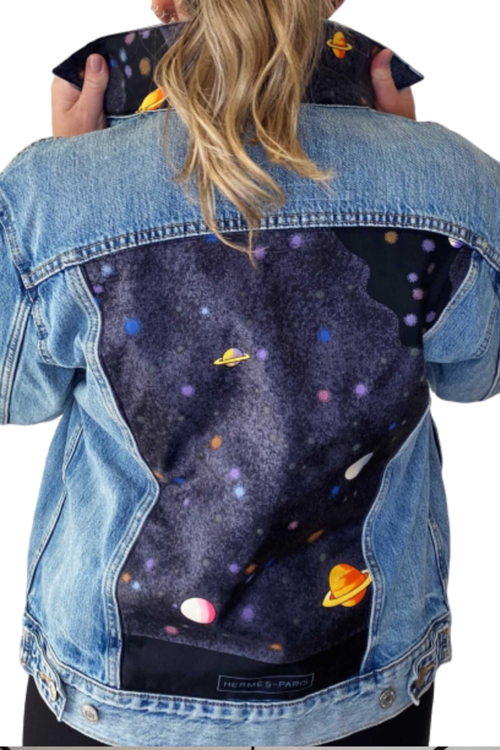 DENIM JACKET WITH HERMES PRINT SCARF - BLUE MULTI