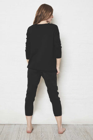ULTRA CASHMERE CREW NECK SWEATER - JET BLK
