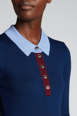 LONG SLEEVE COLORBLOCK POLO SWEATER in INK BLUE