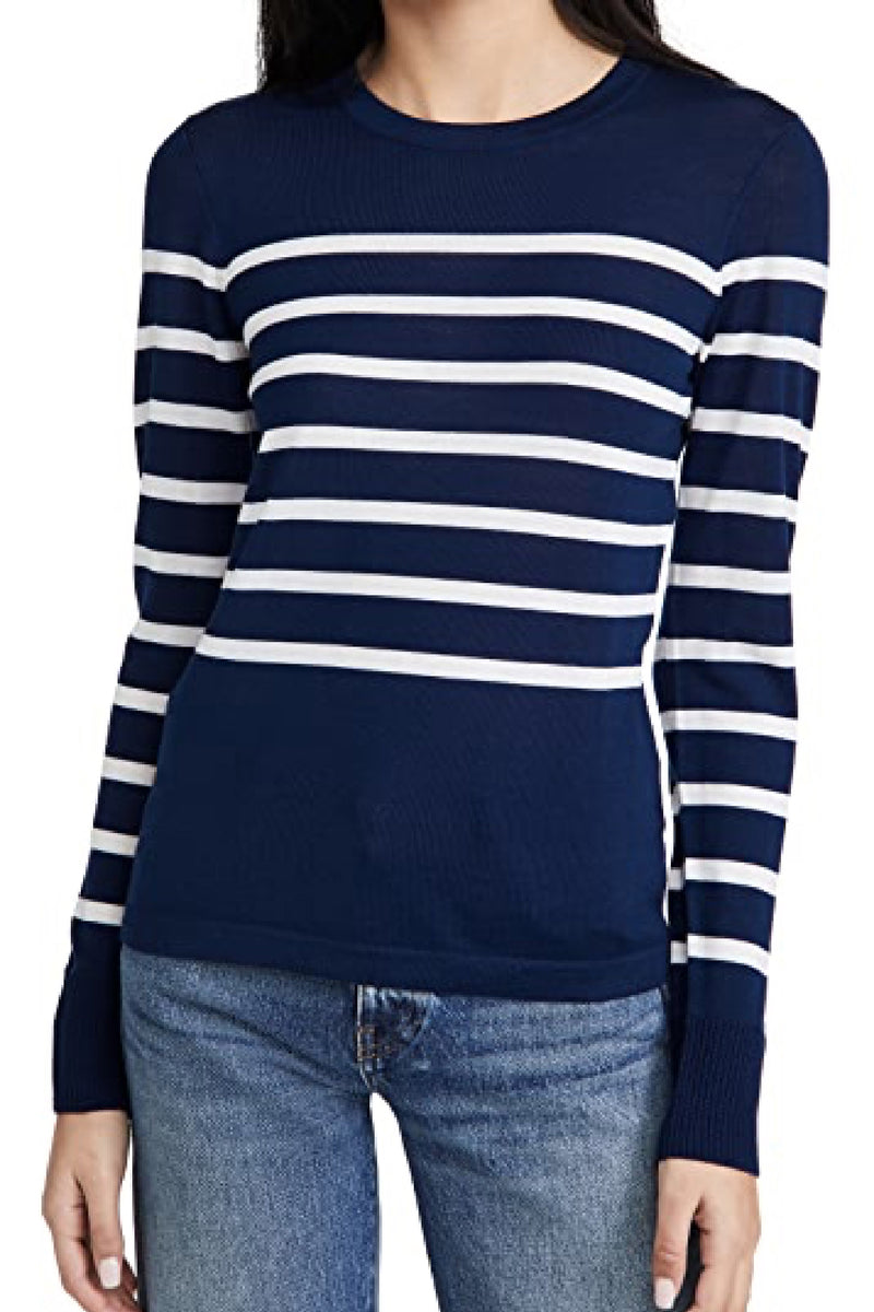 STRIPED WOOL SWEATER in NAVY