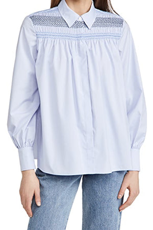 LONG SLEEVE COLLARD BLOUSE in ICE BLUE
