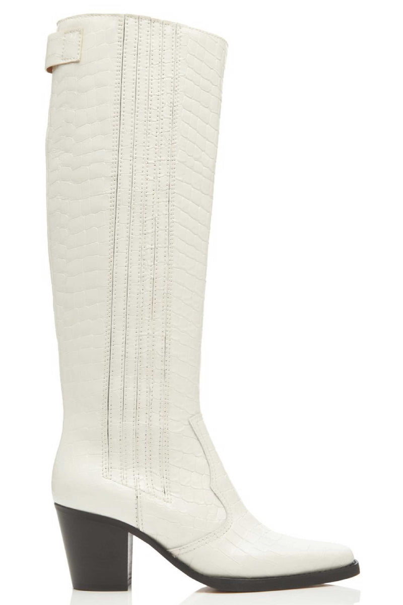 KNEE HIGH CROC EFFECT COWBOY BOOT - EGRET
