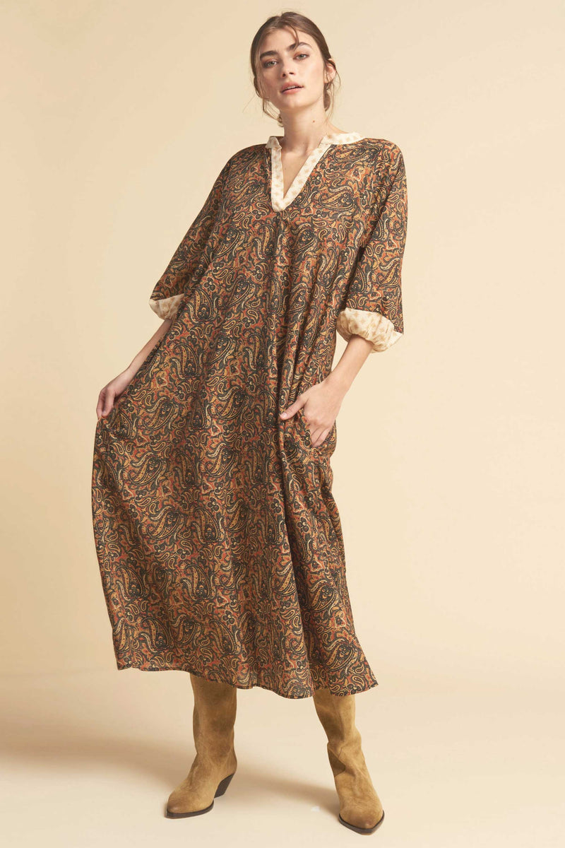 LOVE NOMAD DRESS - RUST MULTI