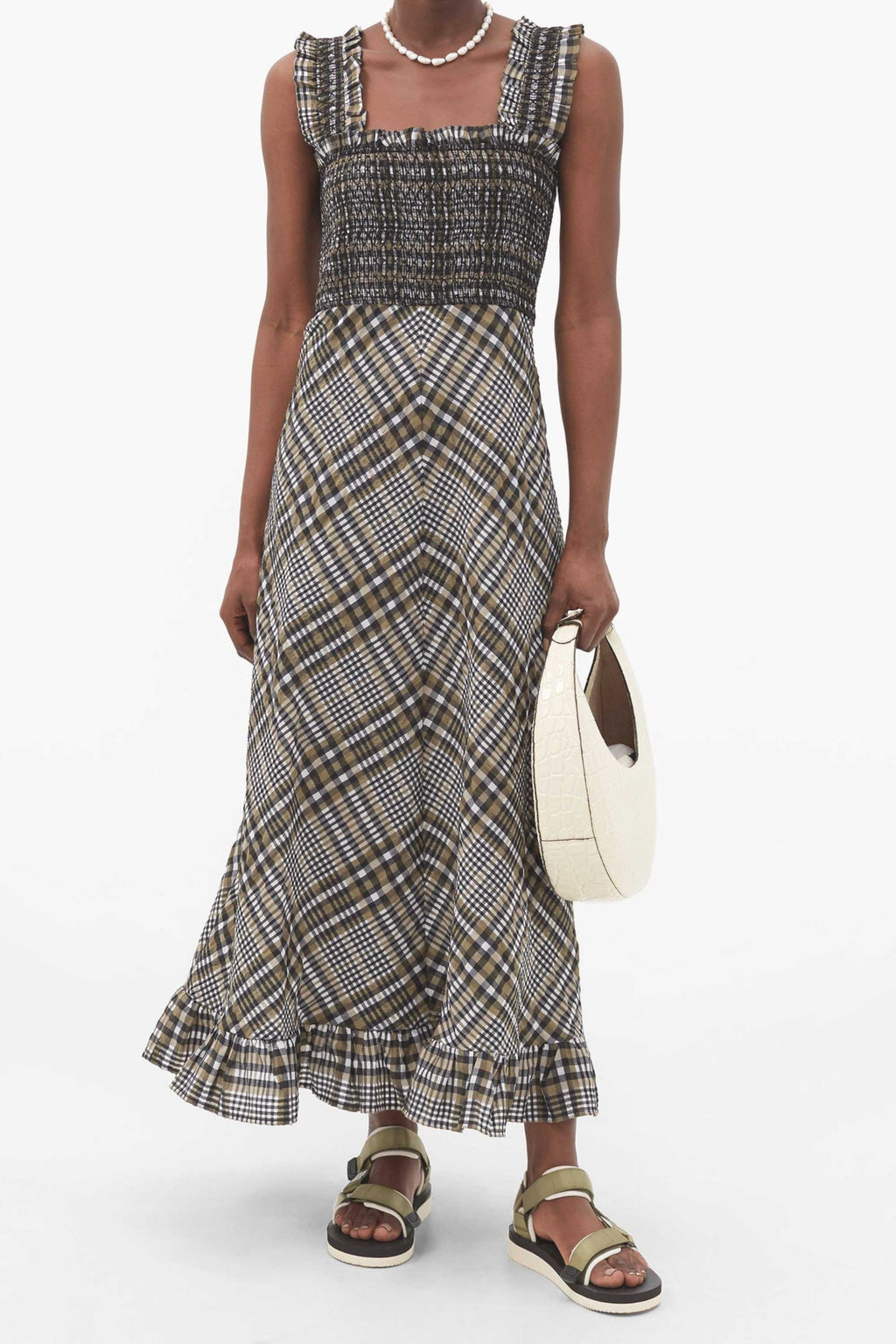SEERSUCKER CHECK MAXI DRESS - KALAMATA PLAID