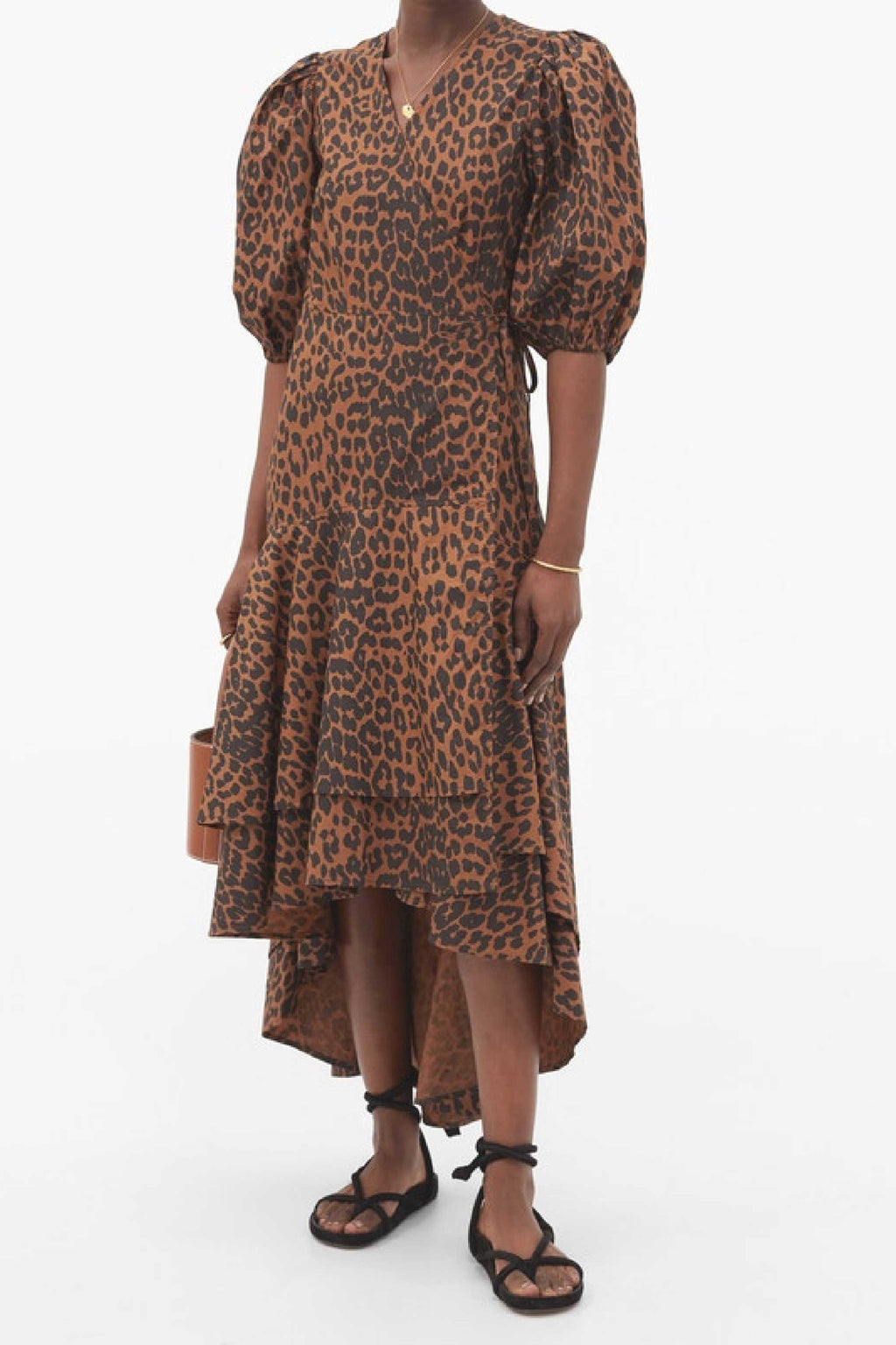 PUFF SLEEVE WRAP DRESS - LEOPARD