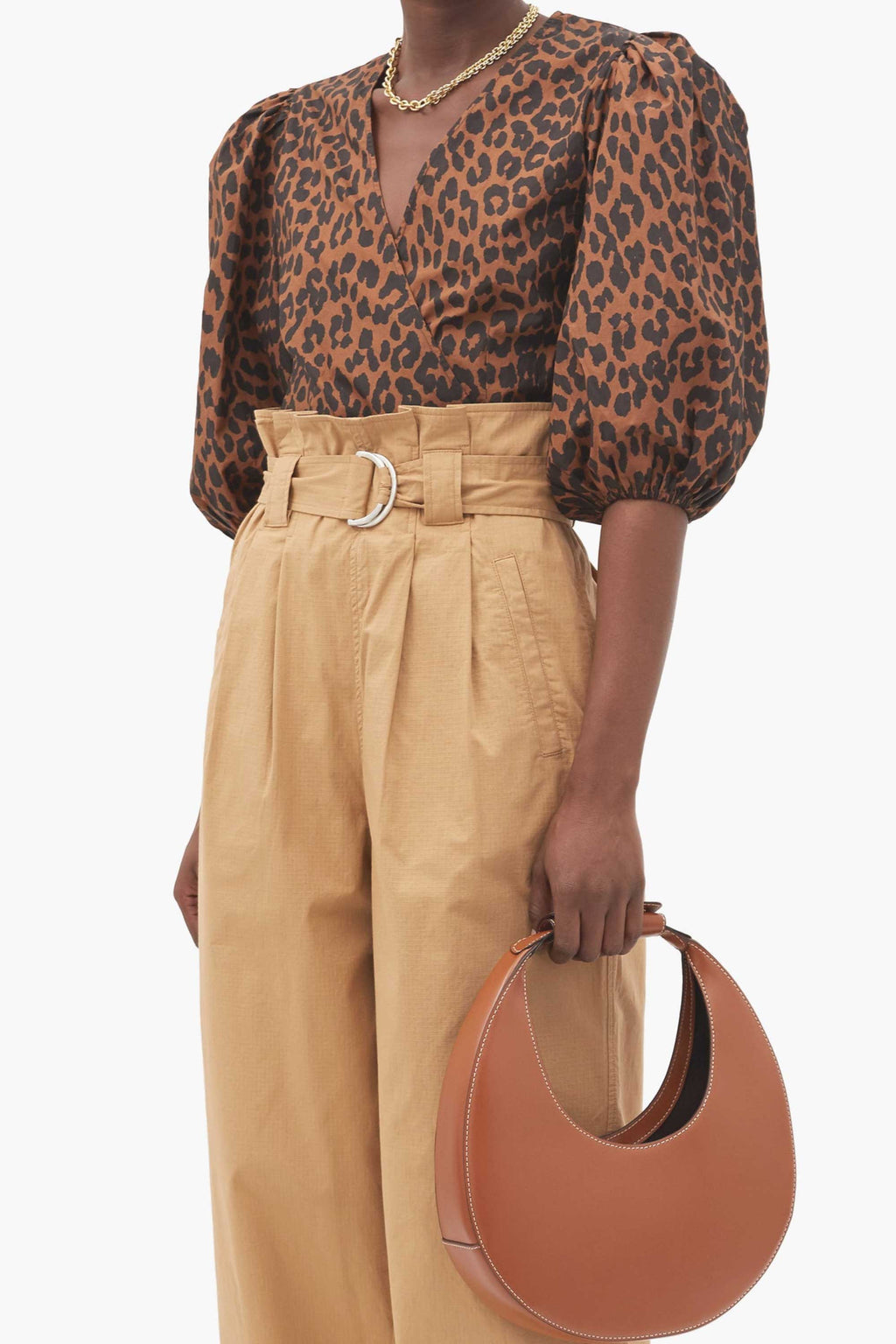PUFF SLEEVE WRAP BLOUSE - TOFFEE LEOPARD