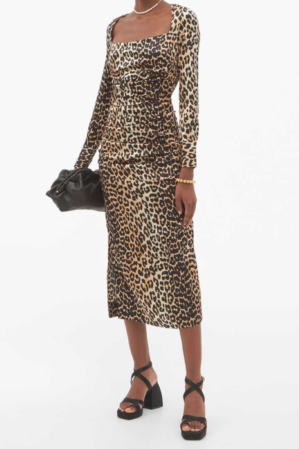 LONG SLEEVE SILK STRETCH SATIN DRESS - LEOPARD