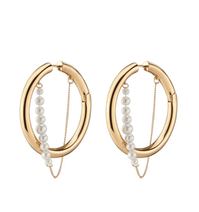 RILEY PEARL HOOPS - GOLD