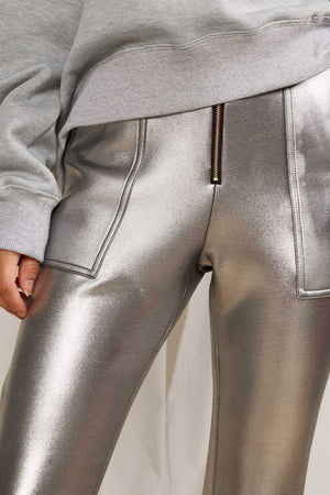 SILVER METALLIC BONDED PANTS