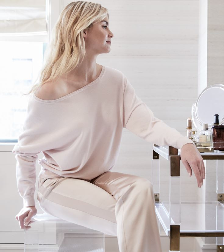 OFF THE SHOULDER CASHMERE SWEATER - CREME