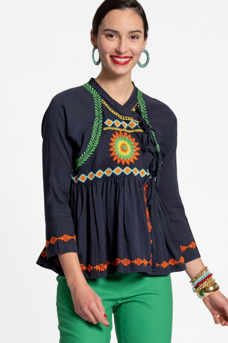 MANDALA WRAP TOP - NAVY
