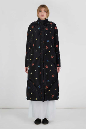SYLVIE LONG FLORAL PUFFER - BLACK MULTI