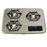 Stainless Steel  3 Burner  Drop-In Cooktop