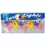 10 Light Set  Patriotic Flags & Ribbons Patio Lights