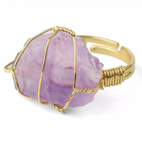 Amethyst Rough Gemstone Gold Adjustable Ring  ~