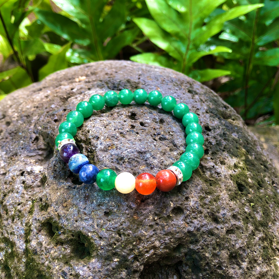 Aventurine Chakra Gemstone Bracelet for Balance, Peace, & Good Fortune