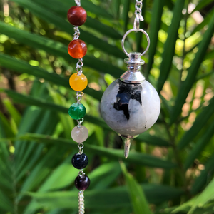 "Chakra Rainbow Moonstone Ball Pendulum ~ ""Intuition & Moon Energy"""