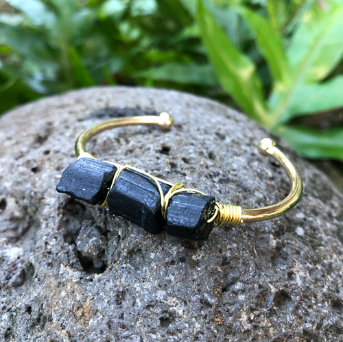 Black Tourmaline Gemstone Gold Bangle Cuff Bracelet