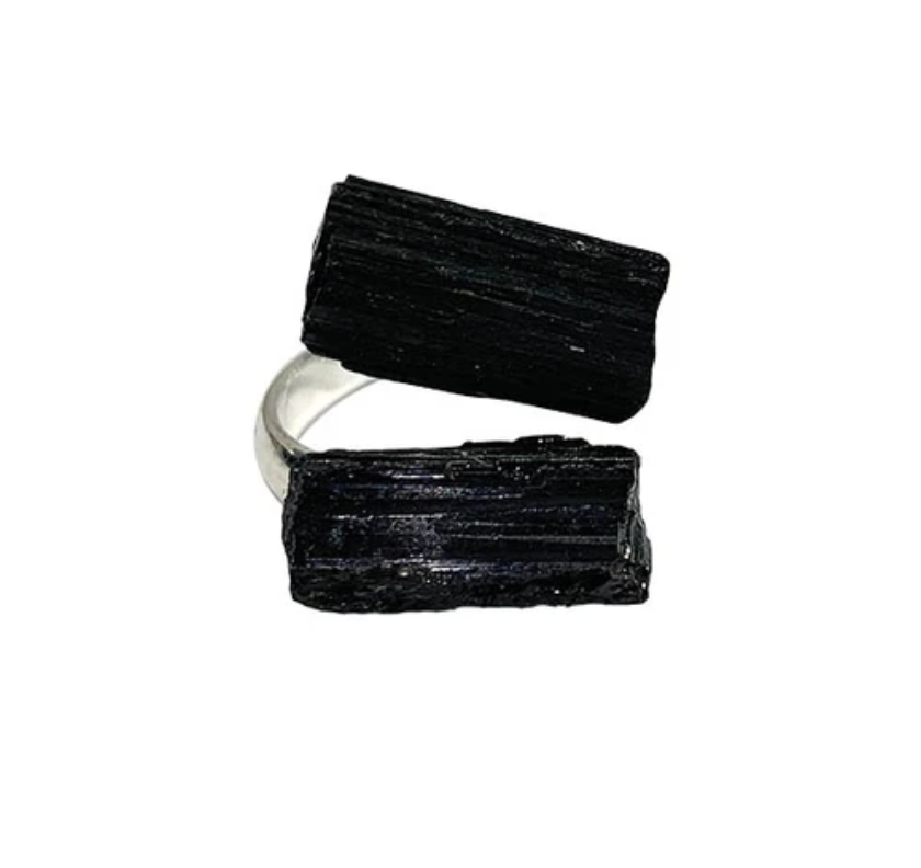 Black Tourmaline Silver Plated Adjustable Ring