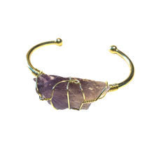 "Amethyst Rough Gemstone Gold Bangle Cuff Bracelet ~ ""Clearing Negativity"""