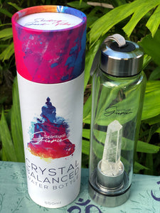 Clear Crystal Quartz Crystal Elixir Water Bottle