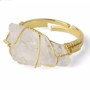"Crystal Quartz Rough Gemstone Gold Adjustable Ring ~ ""Spiritual Awareness, Clarity, & Power"""