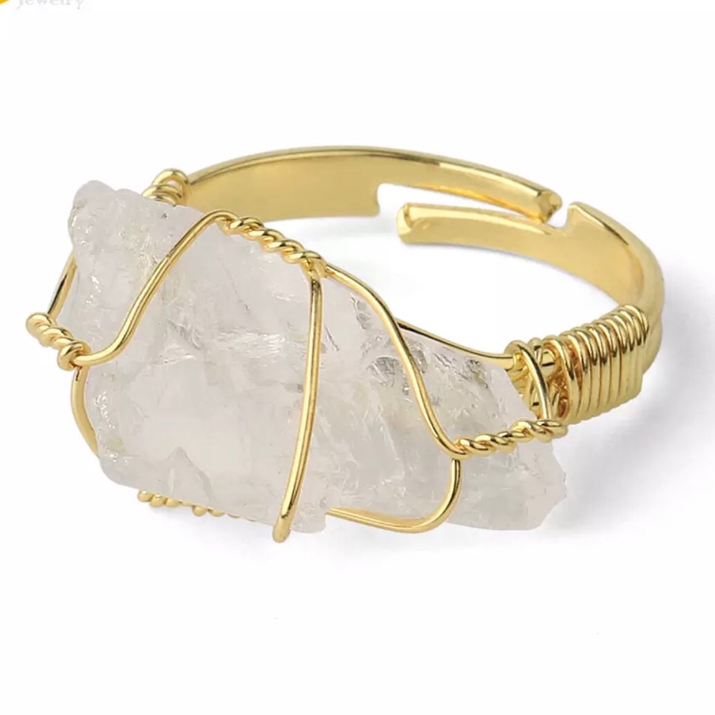 Crystal Quartz Rough Gemstone Gold Adjustable Ring ~