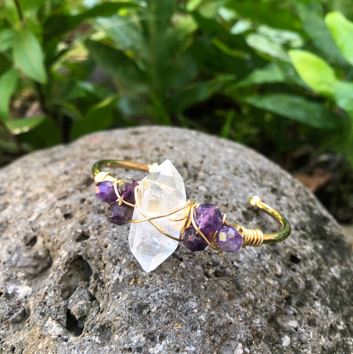 Crystal Quartz & Amethyst Gemstone Gold Bangle Cuff Bracelet  ~