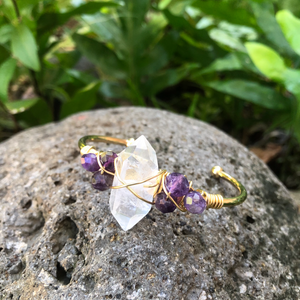 "Crystal Quartz & Amethyst Gemstone Gold Bangle Cuff Bracelet  ~ ""Spiritual Awareness & Protection"""