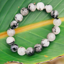 Crystal Quartz w/ Black Tourmaline Bracelet