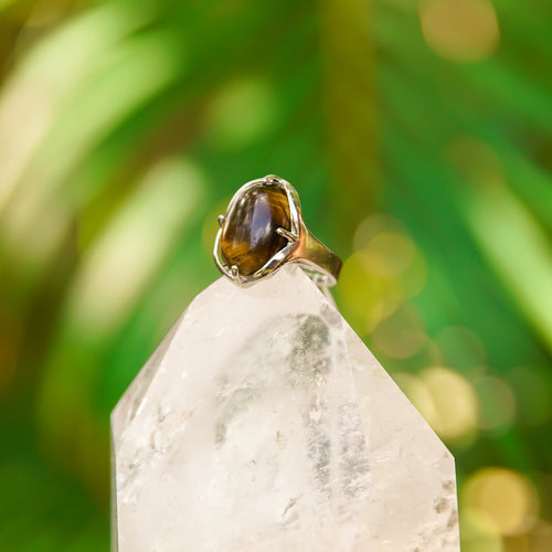 Tiger's Eye Gemstone Adjustable Ring