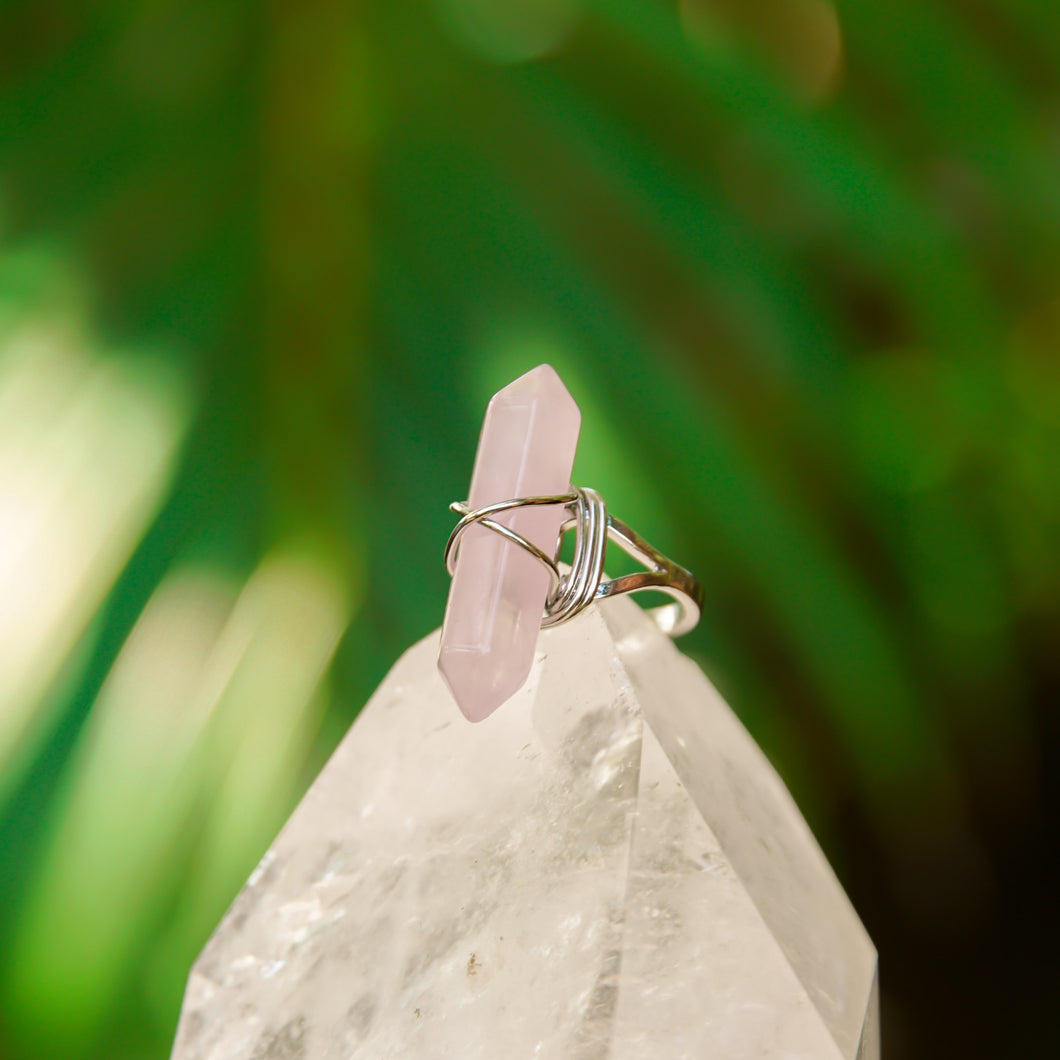 Rose Quartz Gemstone Adjustable Obelisk Ring