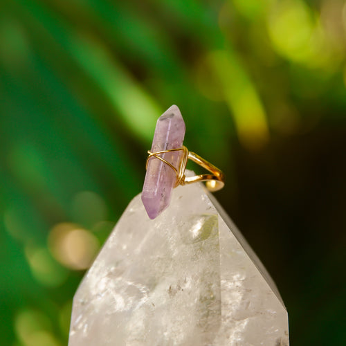 Amethyst Gemstone Adjustable Obelisk Ring w/ Gold