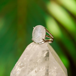 Crystal Quartz Gemstone Adjustable Ring