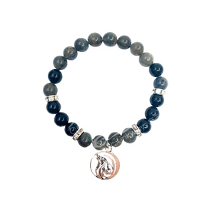 """Full Moon"" Bracelet - Black Tourmaline & Blue Labradorite"