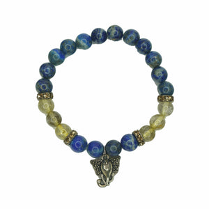 """Third Eye"" Bracelet - Lapis Lazuli & Rutilated Quartz"