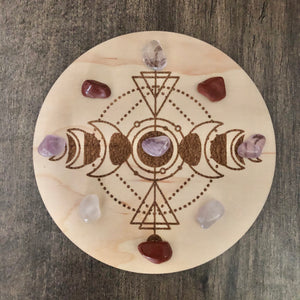 "Mind, Body, Spirit 5"" Crystal Grid Set w/ Gemstones"