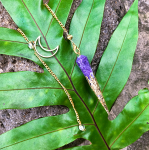 """Moon Energy"" Gold Amethyst Pendulum 