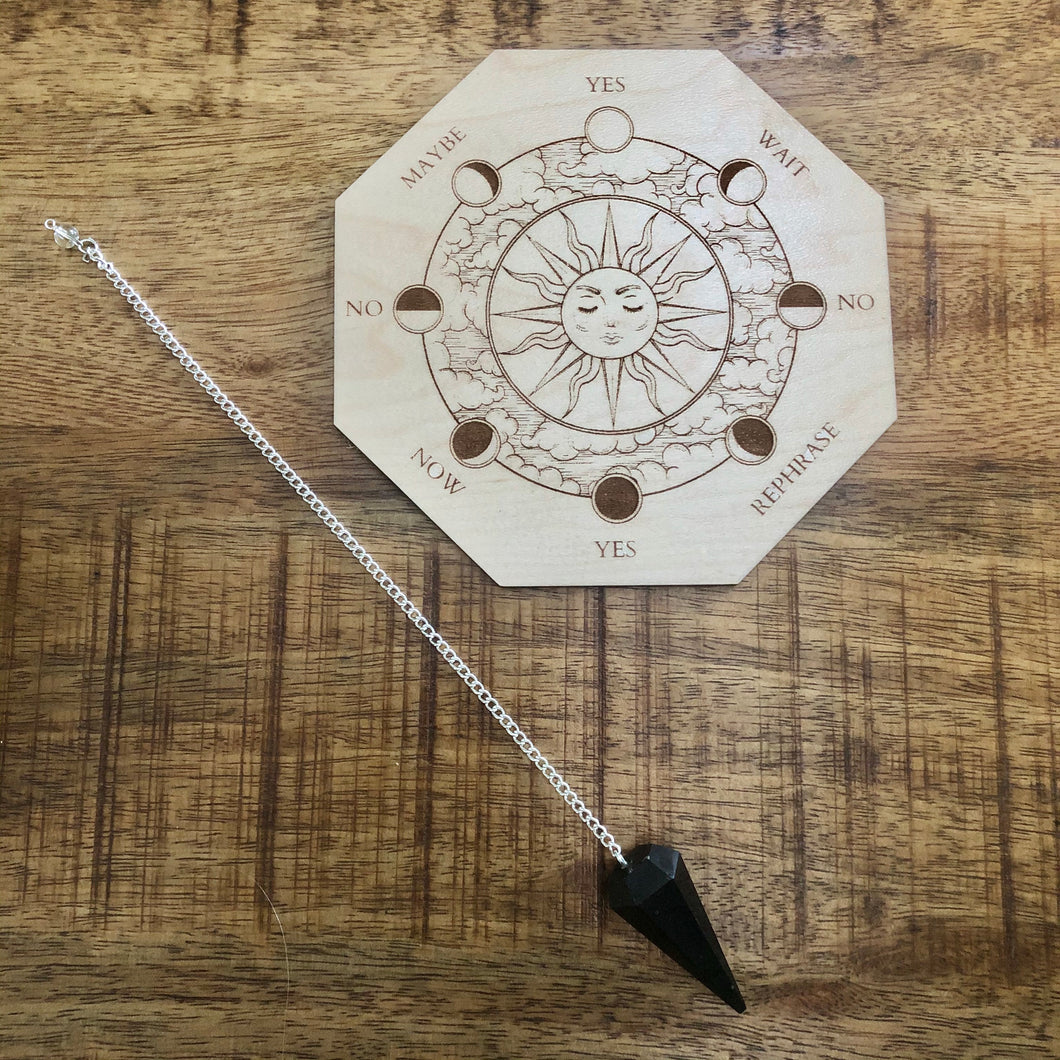 Black Tourmaline Pendulum w/ Wooden Pendulum Moon Board