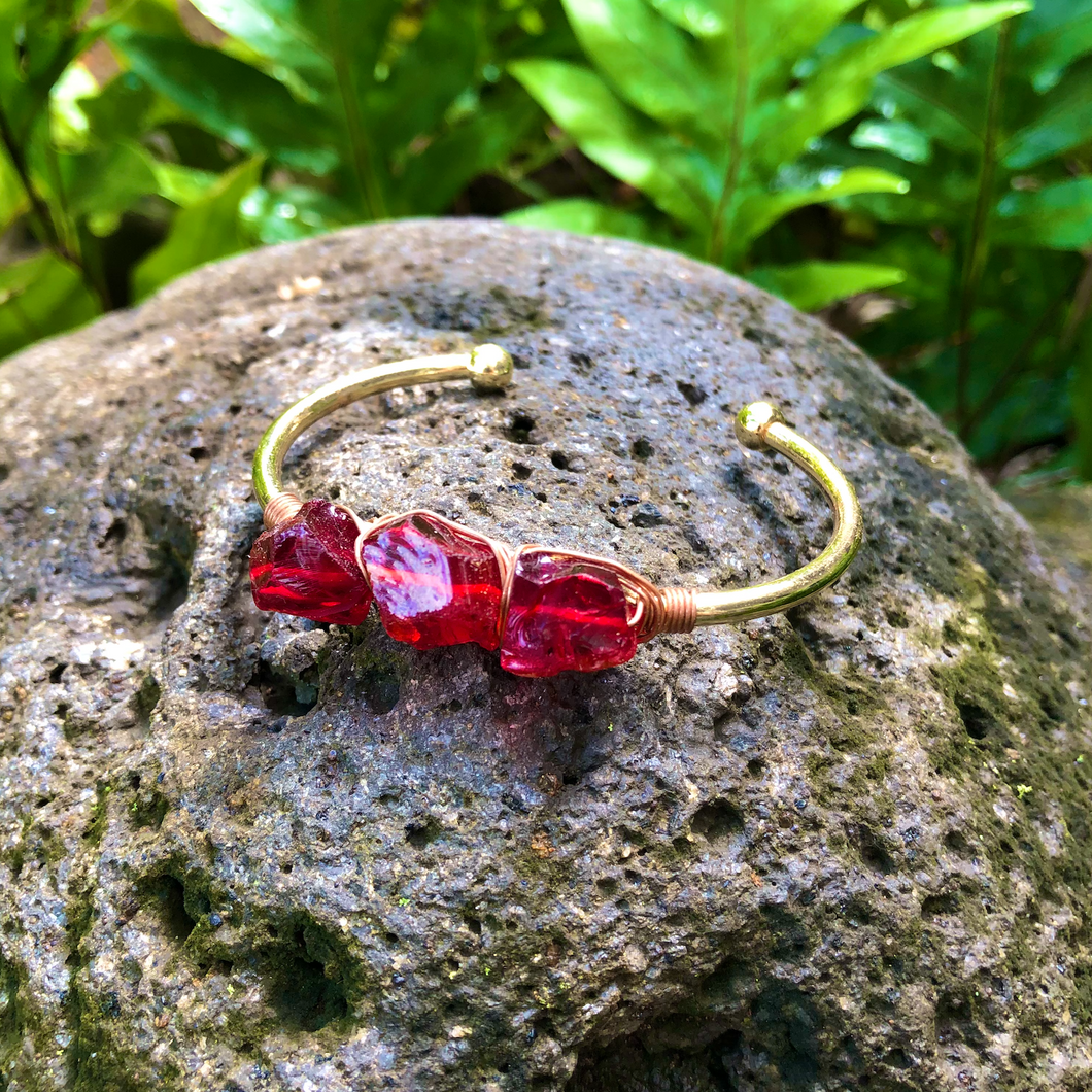 Garnet Raw Gemstone Gold Bangle Cuff Bracelet