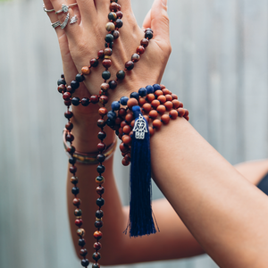 Sandalwood & Sodalite Handmade 108 Mala Bead Necklace