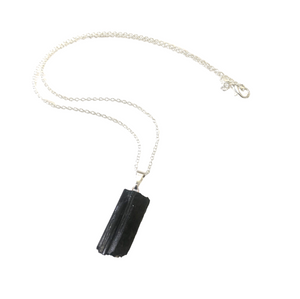 "Black Tourmaline Rough Gemstone Necklace ~ ""Protection"""