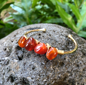 "Sunstone Gemstone Gold Bangle Cuff Bracelet ""Positivity"" Bracelet"